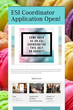 ESI Coordinator Application Open!