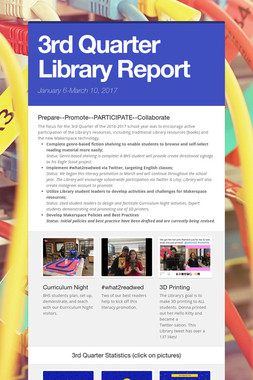 3rd Quarter Library Report