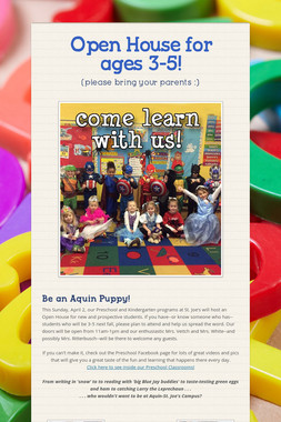 Open House for ages 3-5!