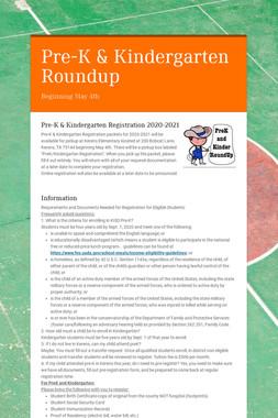 Pre-K & Kindergarten Roundup