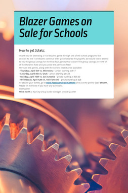 Blazer Games on Sale for Schools