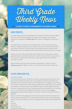 Third Grade Weekly News