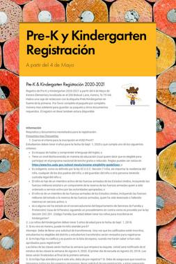 Pre-K y Kindergarten Registración