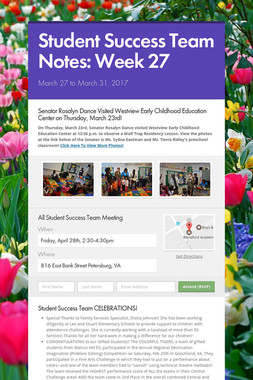 Student Success Team Notes: Week 27