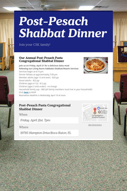 Post-Pesach Shabbat Dinner