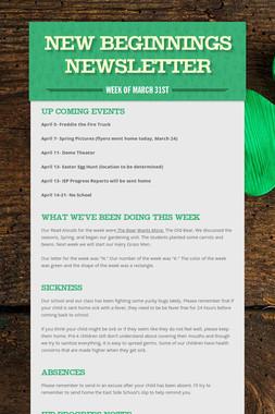 New Beginnings Newsletter