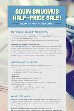 Aquin Smugmug Half-Price Sale!
