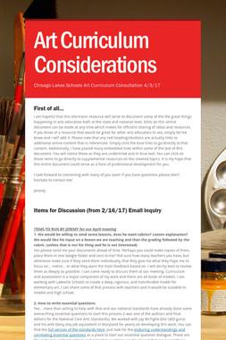Art Curriculum Considerations