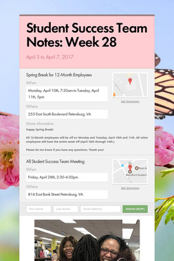 Student Success Team Notes: Week 28