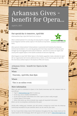 Arkansas Gives - benefit for Opera…