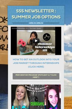 SSS NEWSLETTER : Summer Job Options