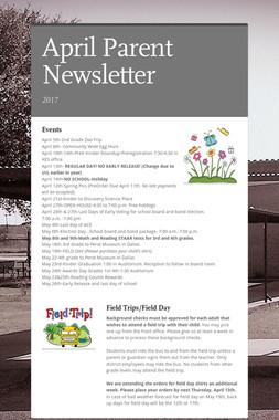 April Parent Newsletter