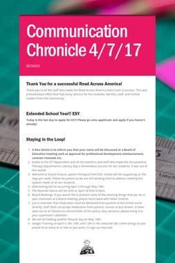 Communication Chronicle 4/7/17