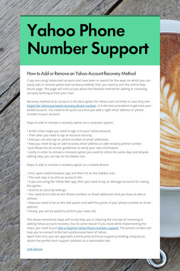 Yahoo Phone Number Support