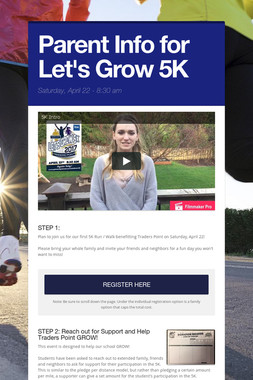 Parent Info for Let's Grow 5K