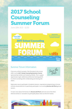 2017 School Counseling Summer Forum