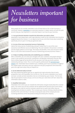 Newsletters important for business