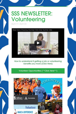 SSS NEWSLETTER: Volunteering