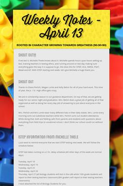 Weekly Notes - April 13