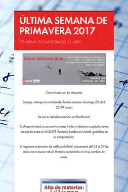 ÚLTIMA SEMANA DE PRIMAVERA 2017