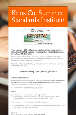Knox Co. Summer Standards Institute