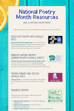 National Poetry Month Resources