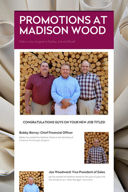PROMOTIONS AT MADISON WOOD