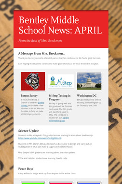 Bentley Middle School News: APRIL