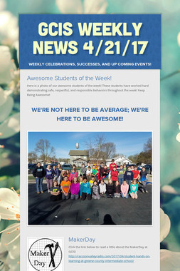 GCIS Weekly News 4/21/17