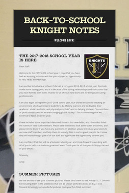 BACK-TO-SCHOOL KNIGHT NOTES