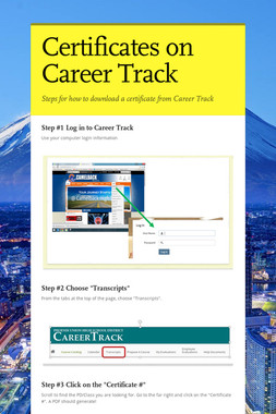 Certificates on Career Track