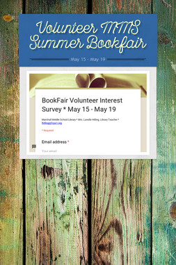 Volunteer MMS Summer Bookfair