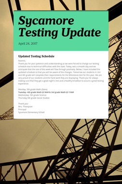 Sycamore Testing Update
