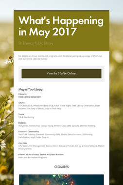 What's Happening in May 2017