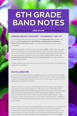 6th Grade Band Notes