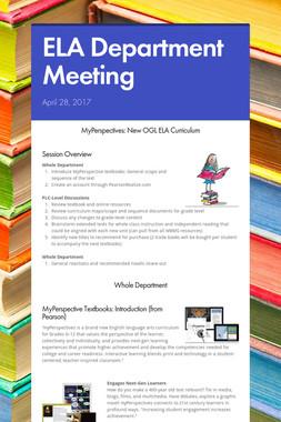 ELA Department Meeting
