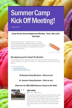 Summer Camp Kick Off Meeting!
