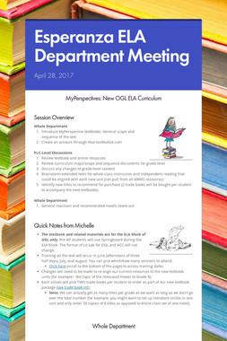 Esperanza ELA Department Meeting