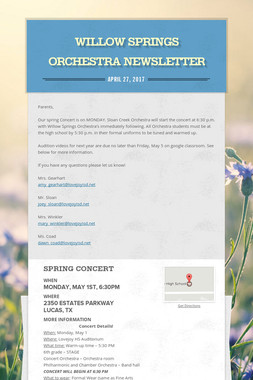 Willow Springs Orchestra Newsletter