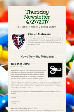Thursday Newsletter 4/27/2017