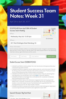Student Success Team Notes: Week 31