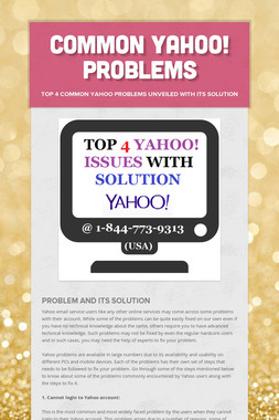 Common Yahoo! Problems
