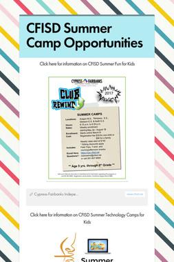 CFISD Summer Camp Opportunities