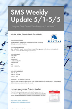 SMS Weekly Update 5/1-5/5