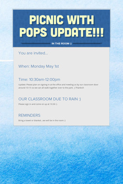 Picnic with Pops UPDATE!!!