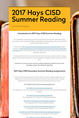 2017 Hays CISD Summer Reading