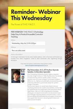 Reminder-  Webinar This Wednesday