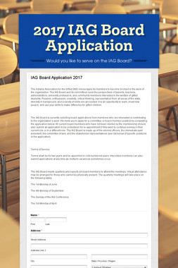 2017 IAG Board Application