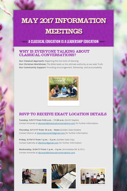 May 2017 Information Meetings