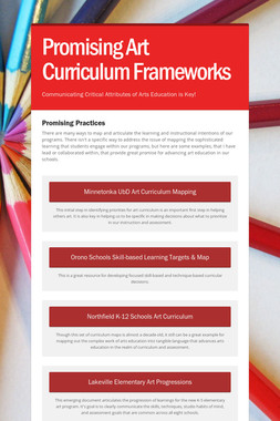 Promising Art Curriculum Frameworks